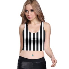 Black White Line Vertical Racer Back Crop Top