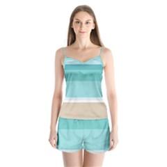 Dachis Beach Line Blue Water Satin Pajamas Set