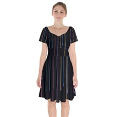 Falling Light Lines Perfection Graphic Colorful Short Sleeve Bardot Dress