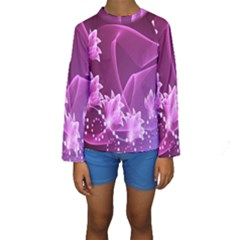 Lotus Sunflower Sakura Flower Floral Pink Purple Polka Leaf Polkadot Waves Wave Chevron Kids  Long Sleeve Swimwear