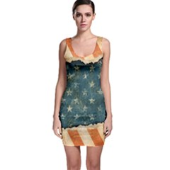 Grunge Ripped Paper Usa Flag Sleeveless Bodycon Dress