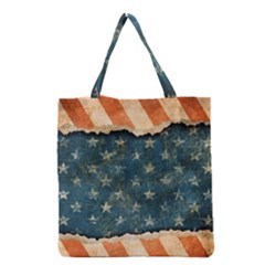 Grunge Ripped Paper Usa Flag Grocery Tote Bag