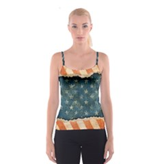 Grunge Ripped Paper Usa Flag Spaghetti Strap Top