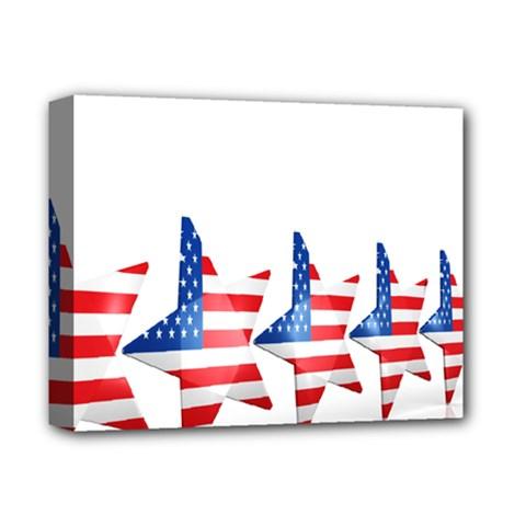 Multiple Us Flag Stars Line Slide Deluxe Canvas 14  x 11