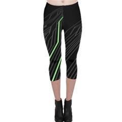 Green Lines Black Anime Arrival Night Light Capri Leggings