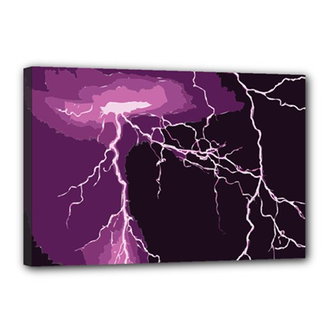 Lightning Pink Sky Rain Purple Light Canvas 18  X 12