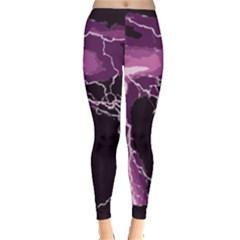Lightning Pink Sky Rain Purple Light Leggings