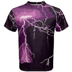 Lightning Pink Sky Rain Purple Light Men s Cotton Tee