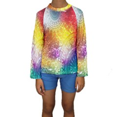Multi Colour Alpha Kids  Long Sleeve Swimwear