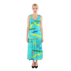Mustache Jellyfish Blue Water Sea Beack Swim Blue Sleeveless Maxi Dress