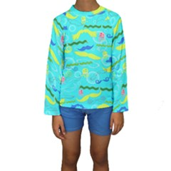 Mustache Jellyfish Blue Water Sea Beack Swim Blue Kids  Long Sleeve Swimwear