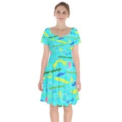 Mustache Jellyfish Blue Water Sea Beack Swim Blue Short Sleeve Bardot Dress