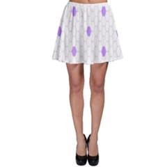 Purple White Hexagon Dots Skater Skirt