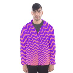 Original Resolution Wave Waves Chevron Pink Purple Hooded Wind Breaker (men)