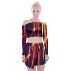 Perfection Graphic Colorful Lines Off Shoulder Top with Skirt Set