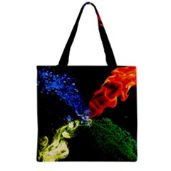 Perfect Amoled Screens Fire Water Leaf Sun Grocery Tote Bag