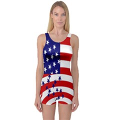 Star Line Hole Red Blue One Piece Boyleg Swimsuit