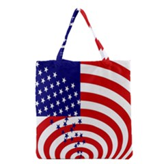 Star Line Hole Red Blue Grocery Tote Bag