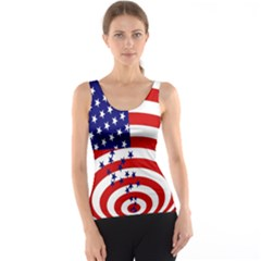 Star Line Hole Red Blue Tank Top