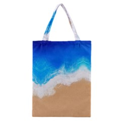 Sand Beach Water Sea Blue Brown Waves Wave Classic Tote Bag