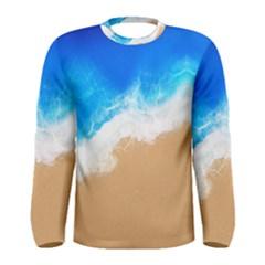 Sand Beach Water Sea Blue Brown Waves Wave Men s Long Sleeve Tee