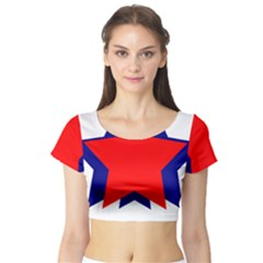 Stars Red Blue Short Sleeve Crop Top (Tight Fit)