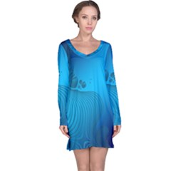 Fractals Lines Wave Pattern Long Sleeve Nightdress