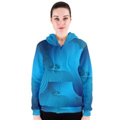 Fractals Lines Wave Pattern Women s Zipper Hoodie