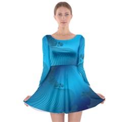 Fractals Lines Wave Pattern Long Sleeve Skater Dress