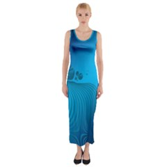 Fractals Lines Wave Pattern Fitted Maxi Dress