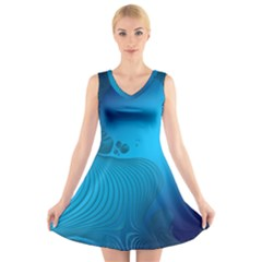 Fractals Lines Wave Pattern V Neck Sleeveless Skater Dress