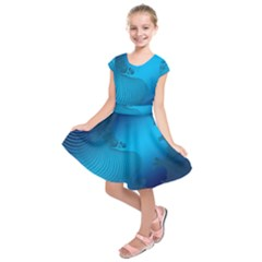 Fractals Lines Wave Pattern Kids  Short Sleeve Dress