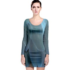 Feather Plumage Blue Parrot Long Sleeve Bodycon Dress