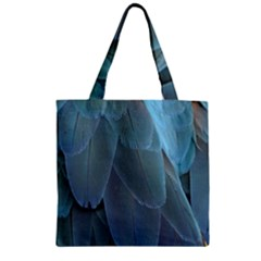 Feather Plumage Blue Parrot Zipper Grocery Tote Bag