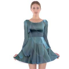 Feather Plumage Blue Parrot Long Sleeve Skater Dress