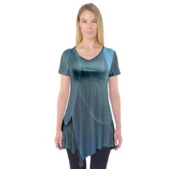 Feather Plumage Blue Parrot Short Sleeve Tunic