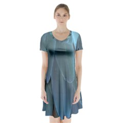 Feather Plumage Blue Parrot Short Sleeve V Neck Flare Dress