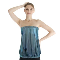 Feather Plumage Blue Parrot Strapless Top