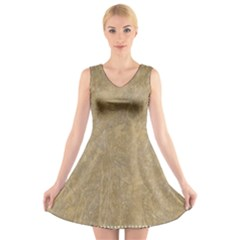 Abstract Forest Trees Age Aging V-Neck Sleeveless Skater Dress
