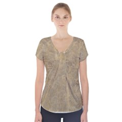 Abstract Forest Trees Age Aging Short Sleeve Front Detail Top
