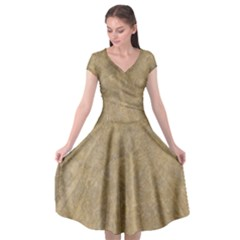 Abstract Forest Trees Age Aging Cap Sleeve Wrap Front Dress