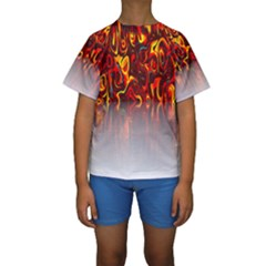 Effect Pattern Brush Red Orange Kids  Short Sleeve Swimwear