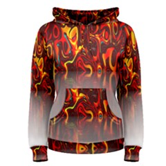 Effect Pattern Brush Red Orange Women s Pullover Hoodie