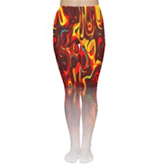 Effect Pattern Brush Red Orange Women s Tights
