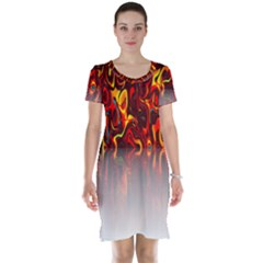 Effect Pattern Brush Red Orange Short Sleeve Nightdress