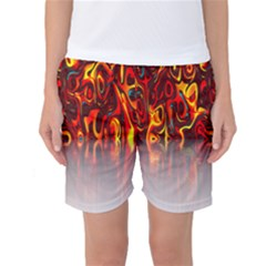 Effect Pattern Brush Red Orange Women s Basketball Shorts