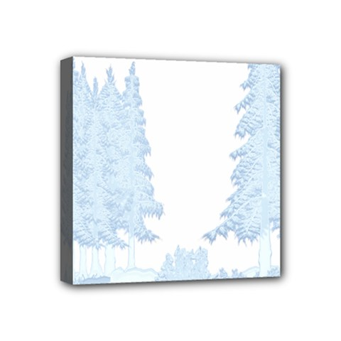 Winter Snow Trees Forest Mini Canvas 4  X 4
