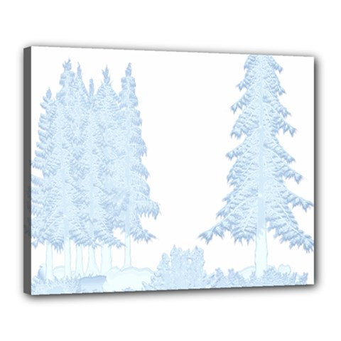Winter Snow Trees Forest Canvas 20  X 16