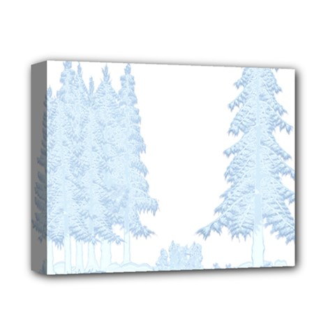 Winter Snow Trees Forest Deluxe Canvas 14  x 11
