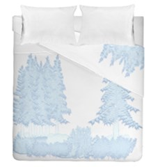 Winter Snow Trees Forest Duvet Cover Double Side (queen Size)